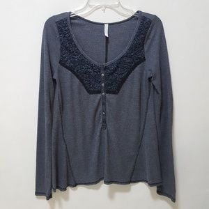 Free People Sweater Thermal Waffle Mesh Embellishe